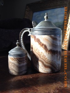 Agate tankard and salt