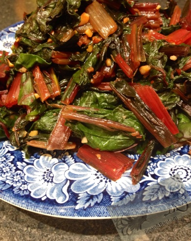 Spicy chard greens with red pepper flakes, salt, garlic and lemon