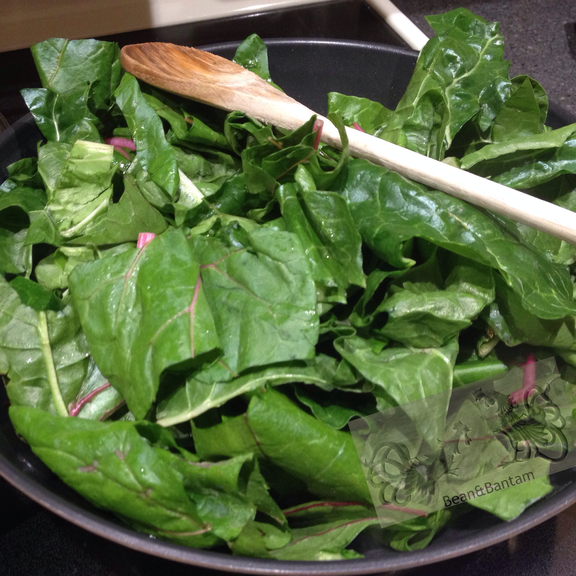 chard greens are initially quite bulky, but will cook down
