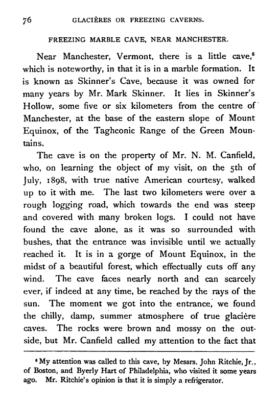 "Skinner's Cave on Mount Equinox in Manchester, Vermont From ""Glacieres; or Freezing Caverns"" author Edwin Swift Balch published by Allen Lane & Scott in 1900"