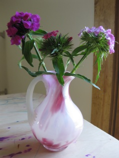 Sweet William in a raspberry swirl vase