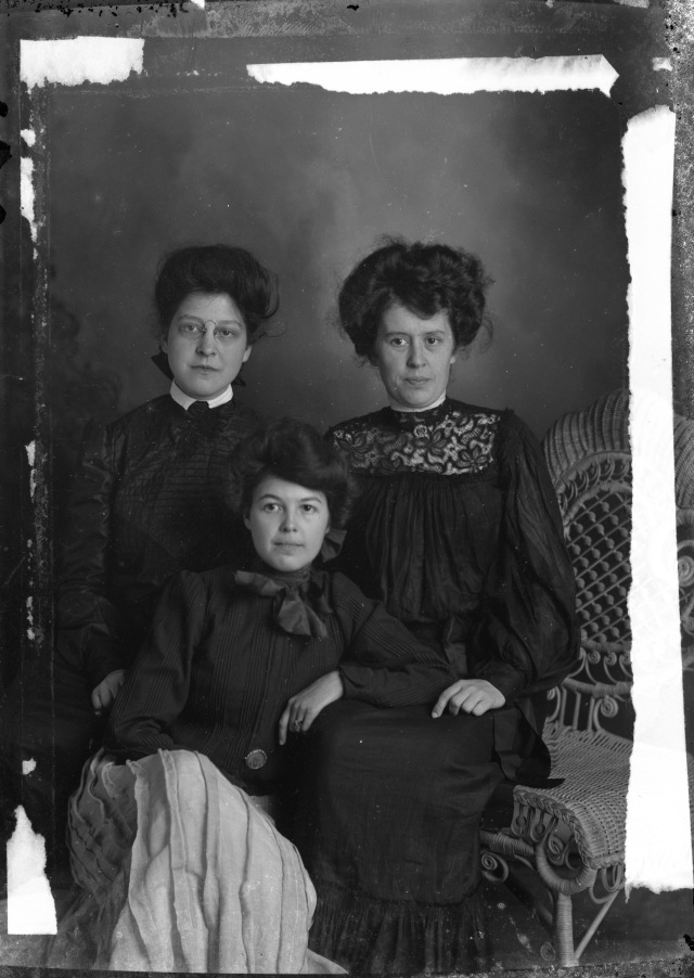 """The Van Schaick Girls"" glass negative by HM Bloomer, Hudson Falls, NY"